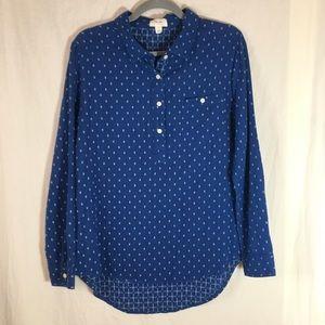 Per Se Dark Blue Pullover Button Down Blouse